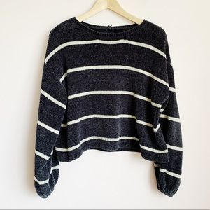 extra soft navy striped chenille cropped sweater